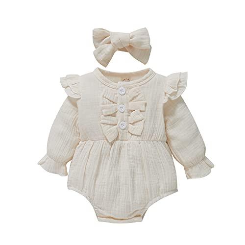 2 piezas de ropa para bebés y niñas, color sólido, cuello redondo, manga larga, tocado de otoño, beige, 9 mes