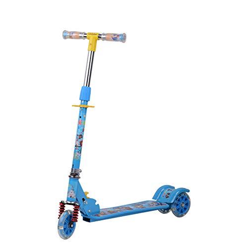 Patinete Plegable NiñO Scooter Coche del OscilacióN del Amortiguador De Choque De La PU Apto para 4-8 AñOs,Blue