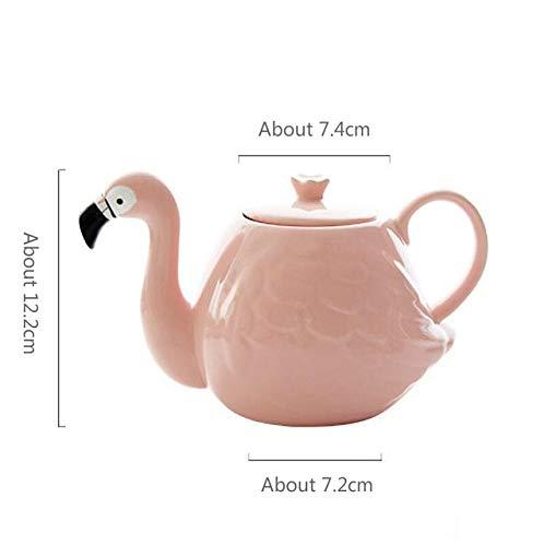 Juego de tetera con diseño de flamenco rosa con dos tazas y una tetera de cerámica para regalo creativo 2