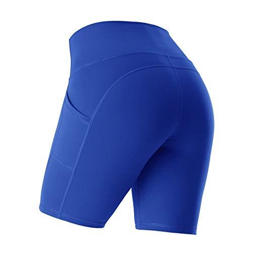 No-Branded WZGGZWGG Frauen Zurück Querverband Shorts Push Up Hip elastische Strumpfhosen mit hoher Taille, Bauch Jogging Yoga Shorts (Color : B Blue, Size : M)