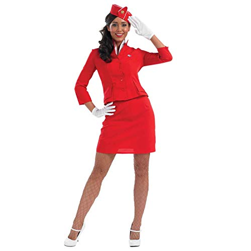 Fun Shack Rotes Stewardess Kostüm für Damen, sexy Flugbegleiterin Uniform - M