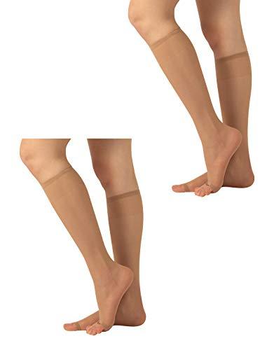 CALZITALY 2 Paar Zehenfreie Kniestrümpfe | Feine Damen Kniestrümpfe für Peep Toe | Open Toe Strümpfe | 10 DEN | Hautfarbe, Schwarz | Einheitsgröße | Made in Italy (Einheitsgröße, Hautfarbe)
