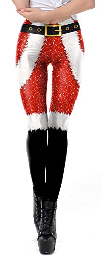 Jumppmile Women's Ugly Xmas Santa Christmas Costume Funny Print Leggings Tights M