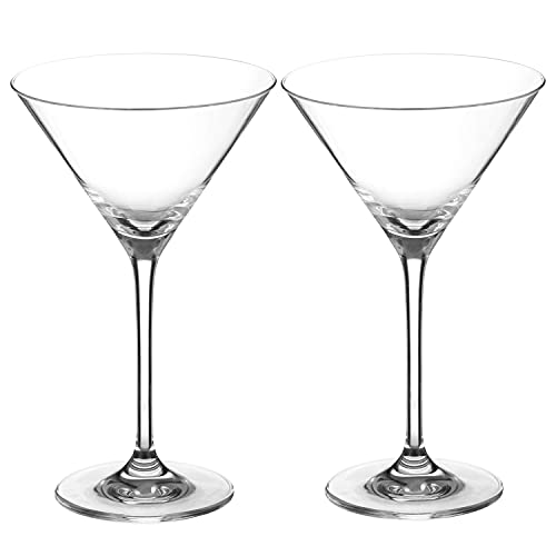 K BASIX Unbreakable Martini Glasses, Set of 2, Modern & Unique Style, Reusable, Perfect for Martini, Cocktail, Whiskey, Margarita, Glassware for Home Bar, Restaurant, Parties, Gold Series, 10.2 Ounce