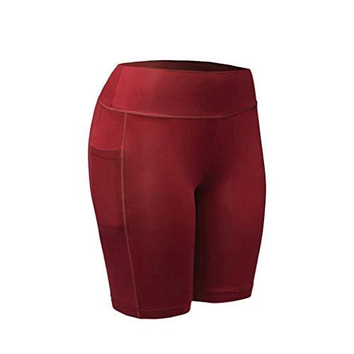 Calvinbi Sport Damen Yogahosen Sporthosen Fitnesshose Strumpfhosen Legging Gamaschen Gym Hose Sexy Hohe Taille Shorts Fünf Hosen Einfarbig Einfach mit Tasche