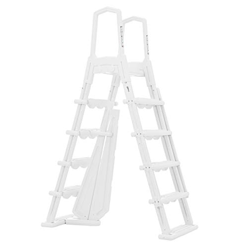 XtremepowerUS Deluxe Pool Ladder for Above Ground Pools A-Ladder Non-Slip Step Entry Ladder, White