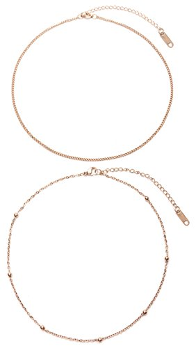 Happiness Boutique Damen Choker Set im Zarten Design Rosévergoldet | 2 Minimalist Ketten Dezenter Schmuck in Roségold