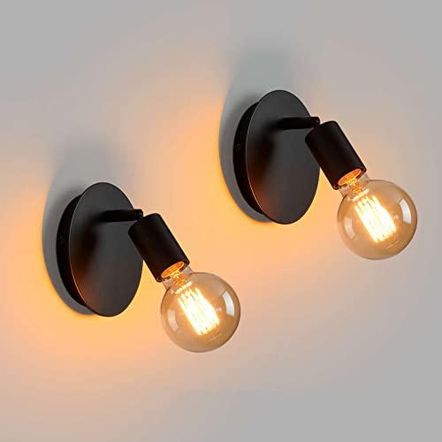 Lightess 2Pcs Lámpara de Pared Retro Aplique de Pared Vintage Lámpara Giratorio Luz de Noche para Mesita Luz de Metal Negra Iluminación Industrial E27 para Restaurante, Hotel, Dormitorio, Sin Bombilla ⭐