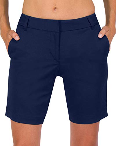 Three Sixty Six Womens Bermuda Golf Shorts - Quick Dry Active Shorts with Pockets, Athletic and Breathable - 8 ½ Inch Inseam Cadet Navy