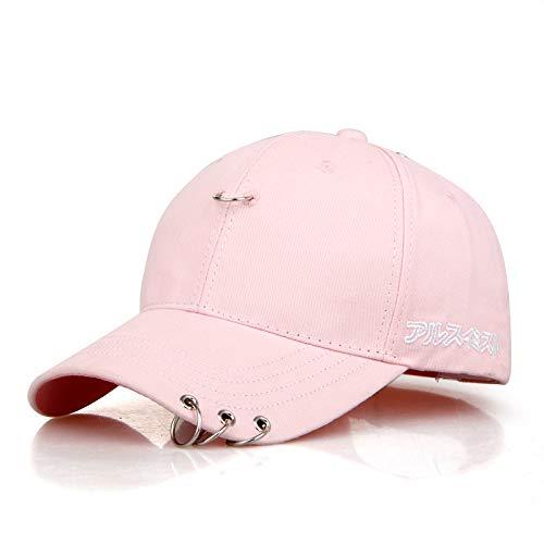 YUANBOO Moda Coreana Mujeres béisbol Gorra Hierro Anillo Sol Sombreros Blanco Rosa otoño al Aire Libre Protector Solar Pareja Sombrero para Hombres Snapback taps (Color : Pink)