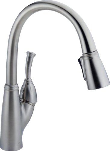 Faucet Allora Single-Handle Kitchen Sink Faucet with Pull Down Sprayer and Magnetic Docking Spray Head, Arctic Stainless - Delta 989-AR-DST