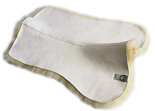 Merauno Echt Lammfell Sattelunterlage Unterlage für Schabracke Satteldecke Sattelpad Ergibt mit den vorhandenen Decken EIN schönes Sattelkissen zur Druckentlastung und Klimatisierung (S-(62cm), Beige