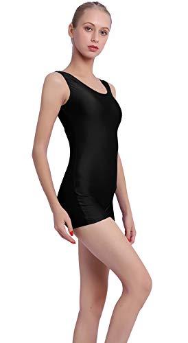 Mvefward Womens Tank Biketard Sleeveless Short Unitard Dance Bodysuit for Adult, Black, Large