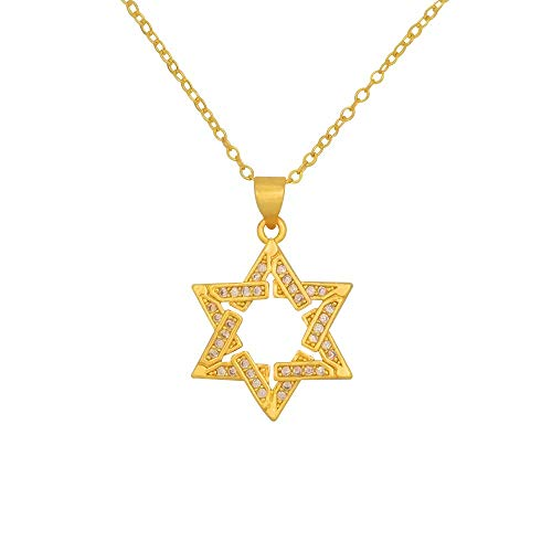 Gold Star Of David Necklace For Man Israel Jewish Jewelry Gift Woman Cz Zirconia Hanukkah Long Goth Pendant Necklace 50Cm
