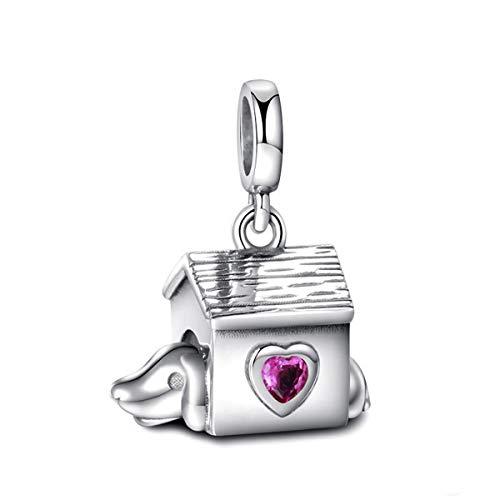 Charm in argento Sterling con ciondolo a forma di casetta per cani con zircone, idea regalo per donne e ragazze, adatto a bracciali Pandora