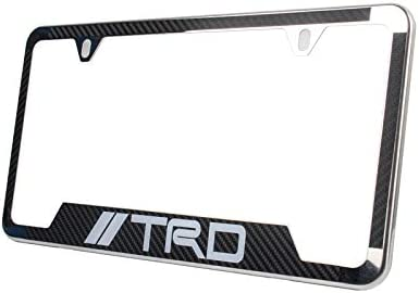Lolosale Carbon Fiber Vinyl Decal Stainless Steel Metal TRD Sport Offroad License Plate Frame Cover Holder for Toyota 2