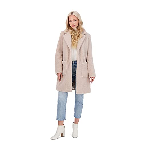 French Connection Women's Faux Shearling Midi Coat Beige Size M