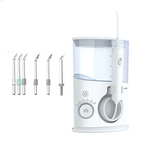 WFWPY Irrigatore Denti Pulizia Orale elettrica Detergente per Denti Idropulitrice Detergente per Denti a casa Porta Un Grande Serbatoio d'Acqua da 700 ml e 6 Teste di nebulizzazione Speciali
