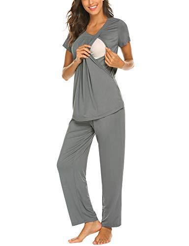 MAXMODA Damen Umstandspyjama Stillfunktion Stillschlafanzug Langarm Hosen Grau XXL