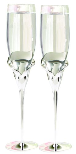 Hortense B. Hewitt Wedding Accessories Champagne Toasting Flutes, Calla Lily, Set of 2