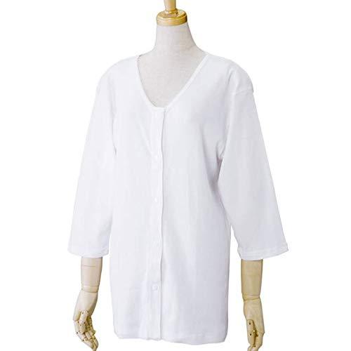 【婦人用】前開き シャツ ≪ 7分袖 ホック式 ≫ (2枚組) 介護用に! レディース 女性用 婦人用 介護 肌着 (S, 白)