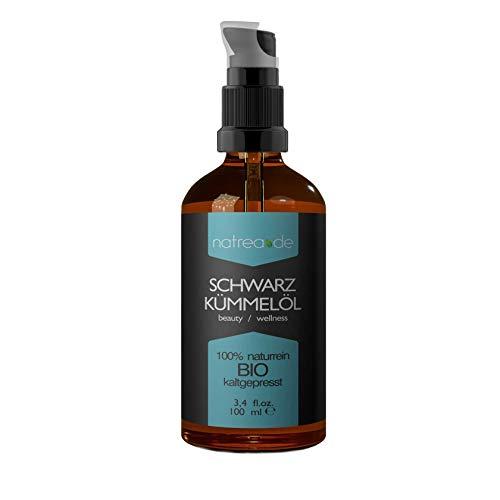 Natrea Schwarzkümmelöl | kaltgepresst ✔ für Gesicht - und Körperpflege ✔ 100% reines BIO-Öl ✔ in 100 ml Apothekerflasche mit Pumpaufsatz