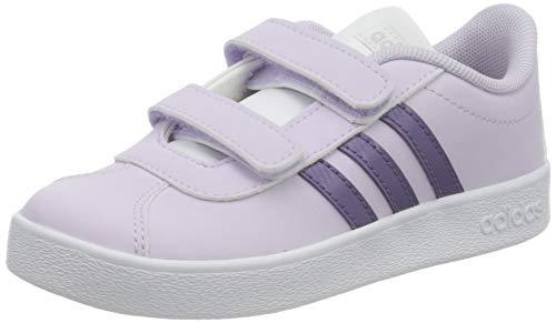 adidas Unisex-Baby VL Court 2.0 CMF First Walker Shoe, Purple Tint/Tech Purple/Footwear White, 24 EU