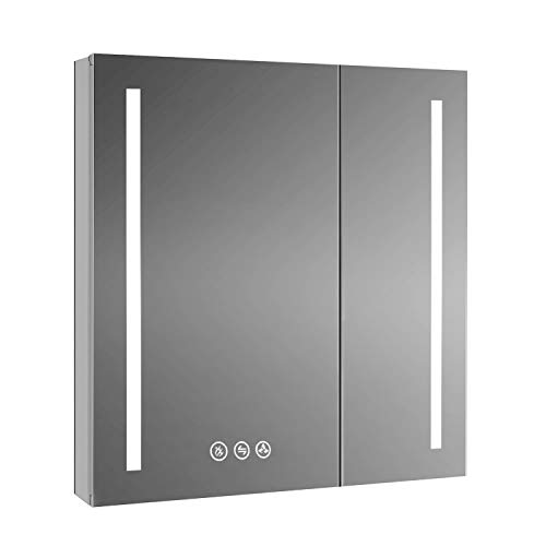 Recessed or Surface LED Mirror Medicine Cabinet with Defogger, Dimmer, Outlets & USB Ports (30x32)
