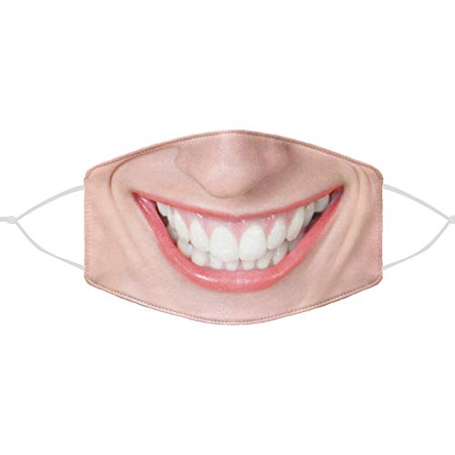 Halloween Christmas Adult Funny Face_Masks 3D Mouth_Covering, Reusable Facial Decorations for Women Men Travel