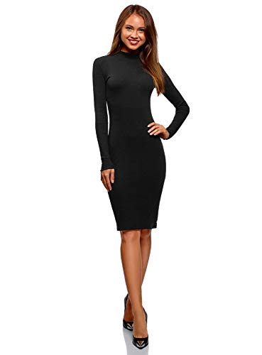 oodji Ultra Damen Baumwoll-Kleid mit Stehkragen, Schwarz, DE 40 / EU 42 / L