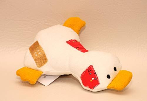 Kuscheltier Ente aus Bio Baumwoll Nicki, Bio Frottee und Bio Jersey, Trösterchen, handgemacht, Personalisierbar mit Namen, Rassel, Knisterfolie
