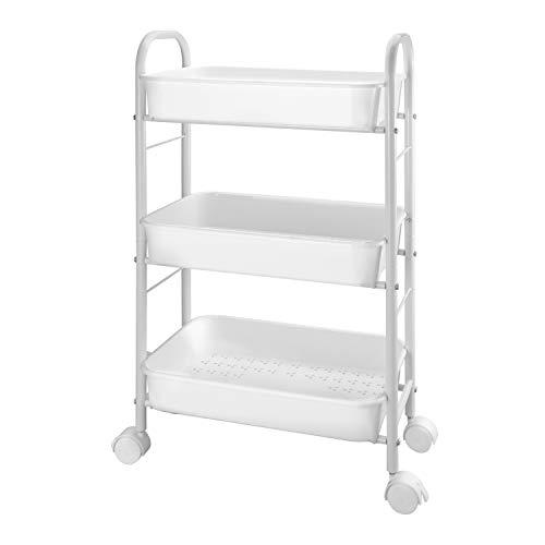 Simple Trending 3-Tier Metal Rolling Storage Cart, Utility Organizer Cart Storage Shelves with Plastic Basket on 2 Lockable Wheels for Kitchen Bathroom, White