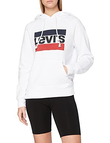 Levi\'s Damen Kapuzenpullover Graphic Sport Hoodie, Weiß (Sportswear Hoodiee White 0001), Small