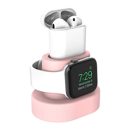 Moretek Charger Stand for Apple Watch 38mm 42mm 40mm 44mm iWatch Series SE 6 5 4 3 2 1 Apple Watch Charging Stand Holder, AirPods Accessory Charger Dock (Pink)