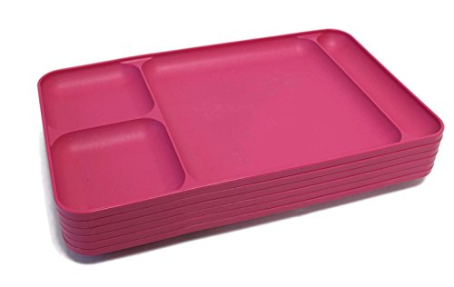 Tupperware Divided Dining TV Trays Plates Pink Set of 6