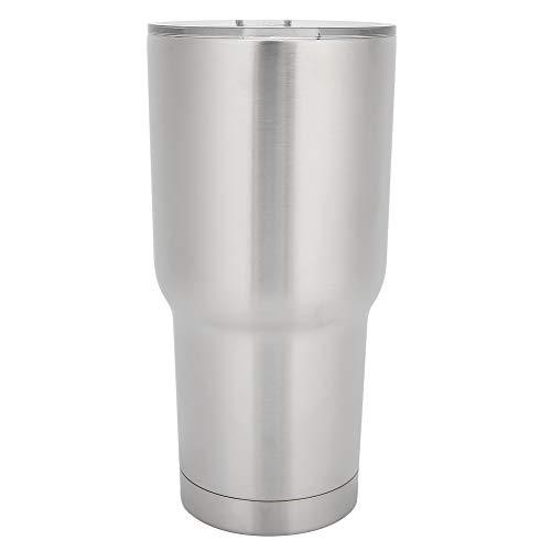 Taza de agua de acero inoxidable Taza de café de doble capa con tapa para el hogar, oficina, picnic, senderismo o camping