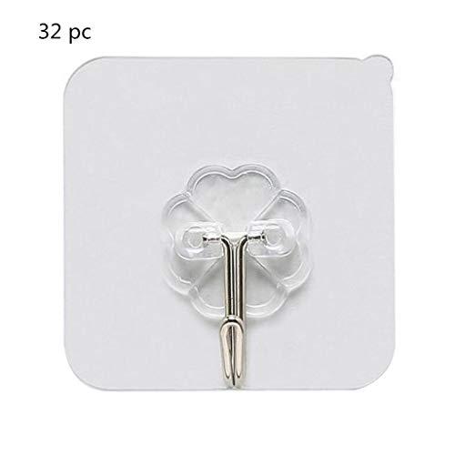 Ankola Vacuum Adhesive Hooks 2-32 pcs Strong Self Adhesive Stainless Steel Hooks Hanger for Shower Keys Bags Bathroom Kitchen (32 pc Plastic Hook)