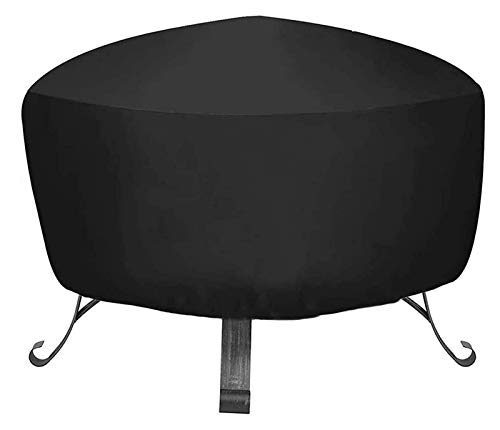 IYUNDUN Fire Pit Cover,Outdoor Patio Fireplace Cover Round Fire Pit Waterproof Cover Black Anti-UV BBQ Shelter Cover for Garden Furniture Cover (CH : 48 x 18 Inch)