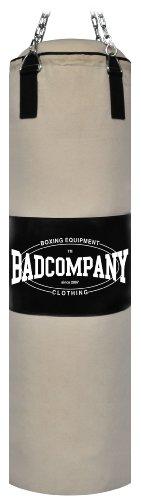 Bad Company Boxsack inkl. Heavy Duty Stahlkette I Canvas Punching Bag, ungefüllt I 120 x 30 cm - Weiß