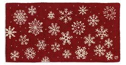 Chandler 4 Corners Artist-Designed Red Snowflake Hand-Hooked Wool Accent Rug (2' x 4')