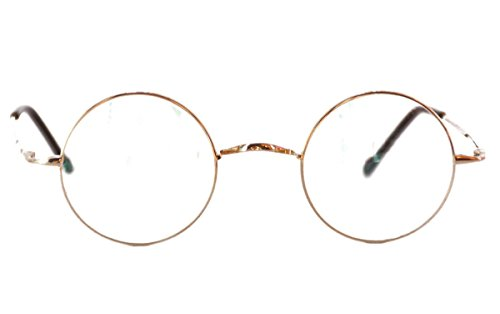 Agstum Pure Titanium Retro Round Eyeglasses Frame without Nose Pads (Gold, 44mm)