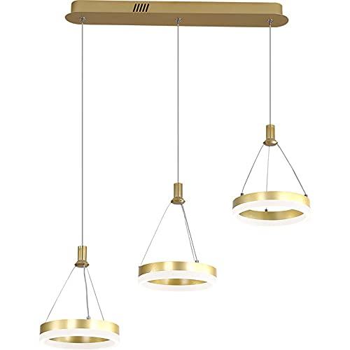 Moderno LED Luces colgantes, Regulable con control remoto, Aluminio Mesa De Comedor Lámpara 3-Anillo Lámpara colgante,Altura Ajustable Dorado Comedor Lámpara Ronda Colgante de luz (L70CM/48W)