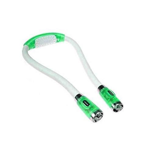 Ztoma LED Abrazo Ligero, Flexible Manos Libres 4 LED Cuello Ligero, Libro Lectura Lámpara Noche Linterna para Manualidades Infantiles Punto Viaje o BBQ - Verde