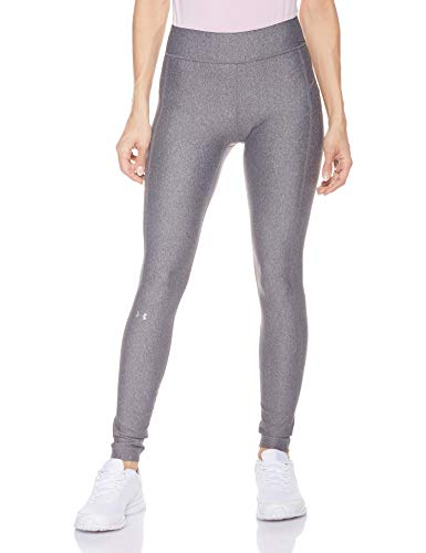 Under Armour Damen UA Heatgear atmungsaktive Leggings, Grau (Charcoal Light Heather/Metallic Silver 019), Small