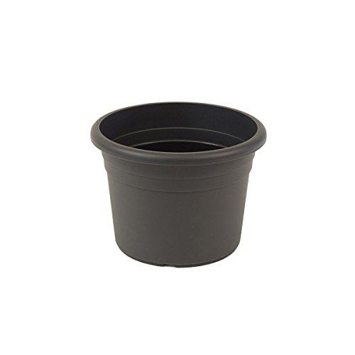 greemotion Vaso fiori rotondo in plastica con fori  Fiona , vaso per piante, ca. 2 litri, diametro ca. 20 cm, altezza ca. 14 cm, grigio antracite