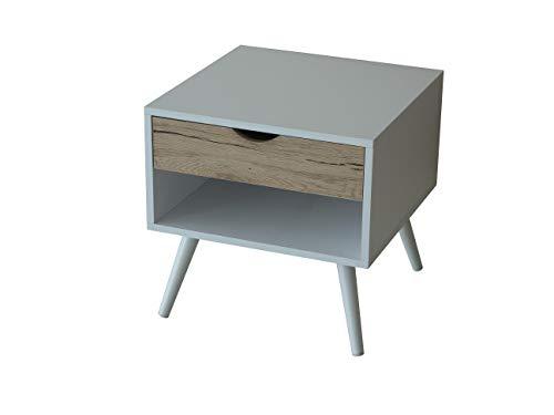 College Buck Mesita estilo nórdico, mesilla nórdica para dormitorio, salón,escritorio,despacho,estudio.Mesa de madera blanca con cajón color roble