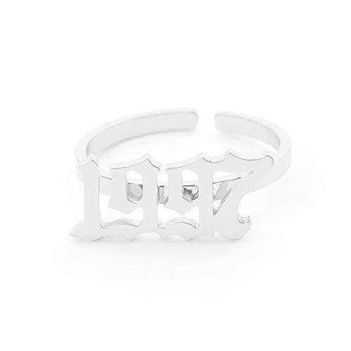 LYLLXL Offene Ringe Für Mann,Vintage Verstellbar Offen Silber Jahre 1997 Form Ring Schmuck Hochzeitsfeier Frauen Männer Paar