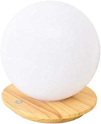 wasser41 LED デスク 卓上ライト テーブルランプ 調光可能 タッチセンサー ウッド 木目調ベース 球体シェード ボールライト
