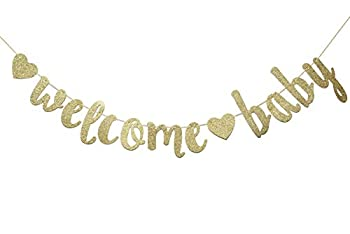 Welcome Baby Gold Glitter Banner-- Baby Shower ,Pregnancy Announcement Gender Reveal Party Supplies  Gold