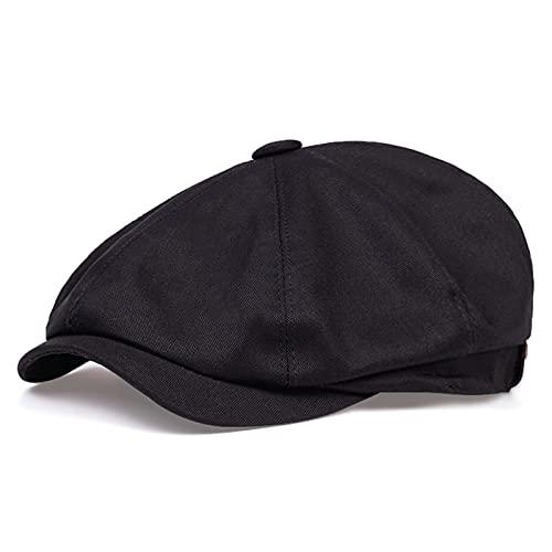 YISLWHUO Berets Cotton Men's Newsboy hat Men's Twill Cotton Octagonal hat (Color : Black, Hat Size : X-Large)